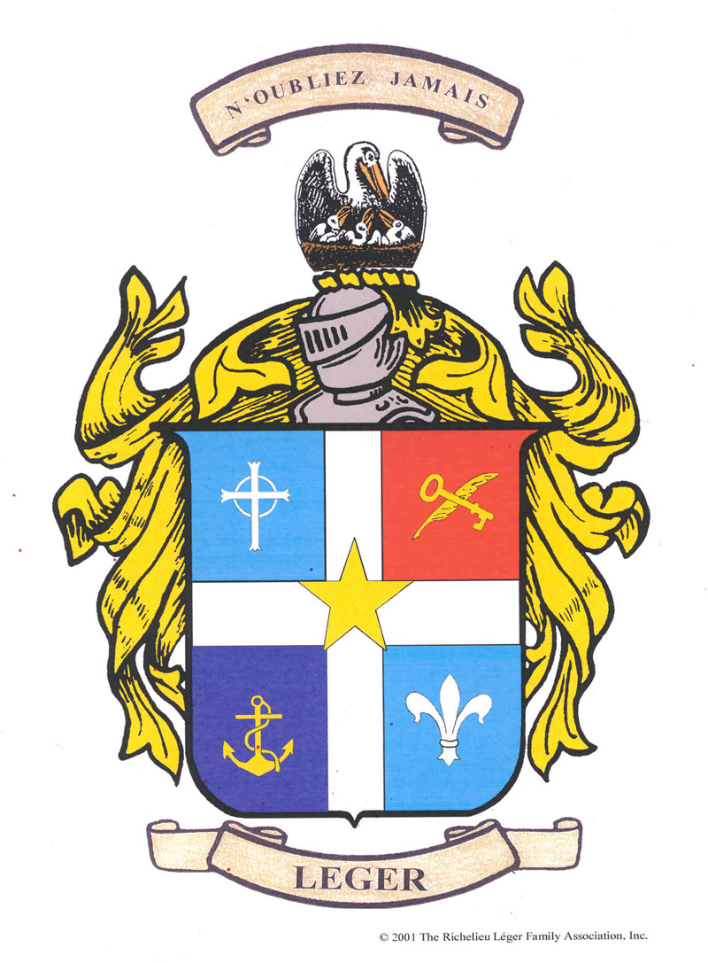 Meaning of the adopted coat of arms of the richelieu leger family